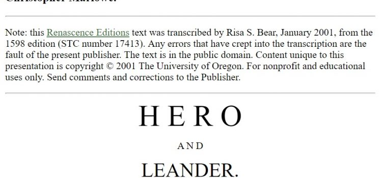 """Hero and Leander"", Renascence Editions (1595)"