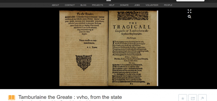 Tamburlaine the Great, Part One. Barton Collection (1605)