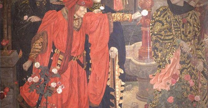 Painting of the plucking of the red or white rose