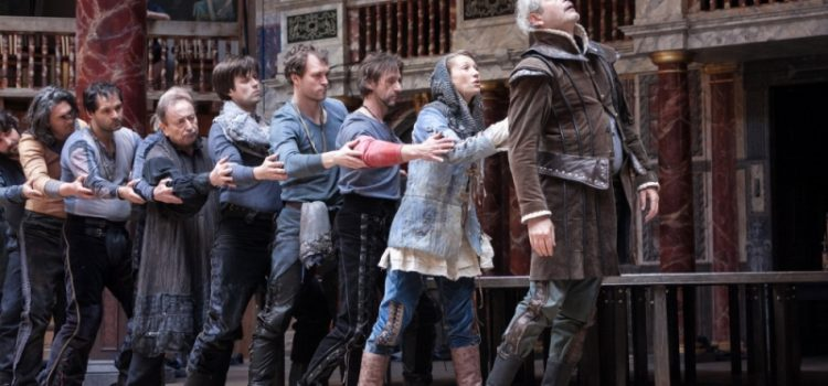 Image of a line of actors performing Henry VI Part 1.