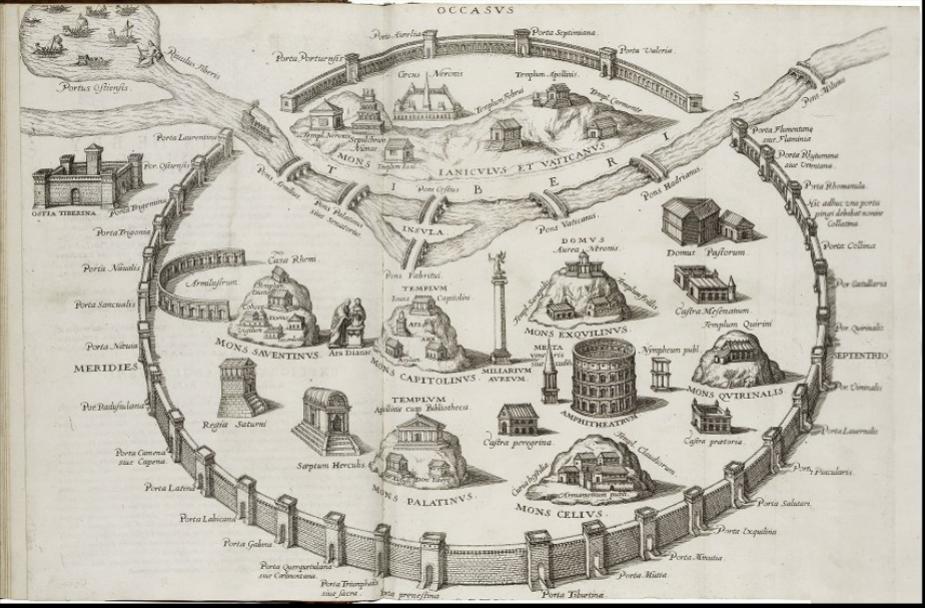 Map of Rome, Folger LUNA Database Boissard, Jean Jacques. Map of Rome from Jean Jacques Boissard. Onvphrii Panuinii... Topographia Romae. Frankfurt, 1627 .