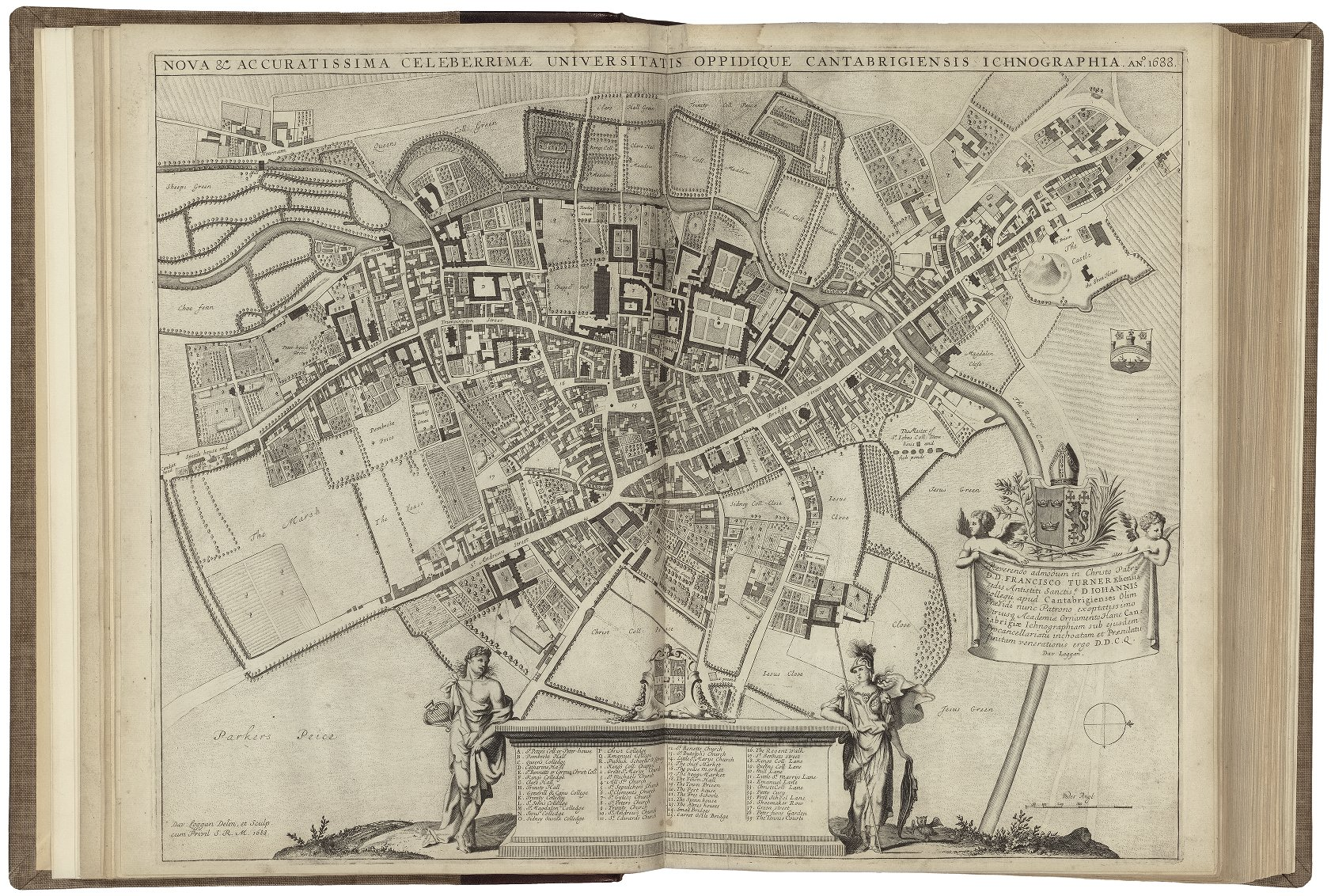 Aerial view circa fourteenth century of Cambridge University